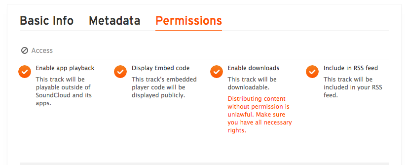 SoundCloud Permissions