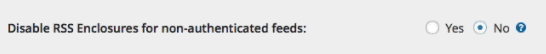 "Wishlist Member option to disable enclosures in RSS feeds - Select ""no"" for podcasting."