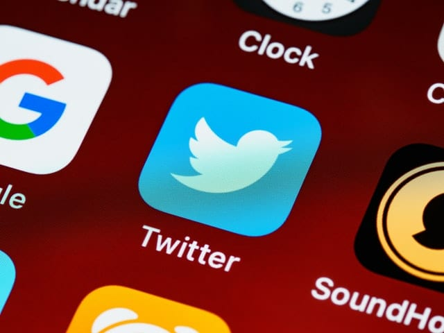 Twitter icon on smartphone