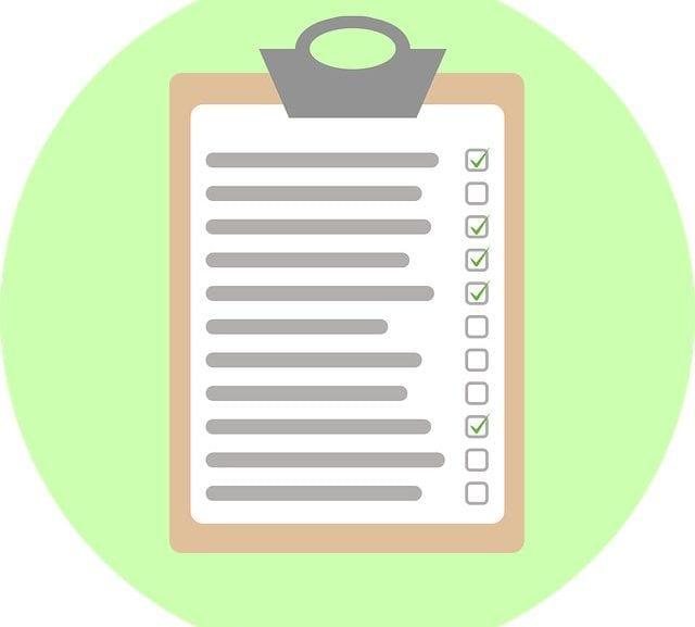 Blank checklist