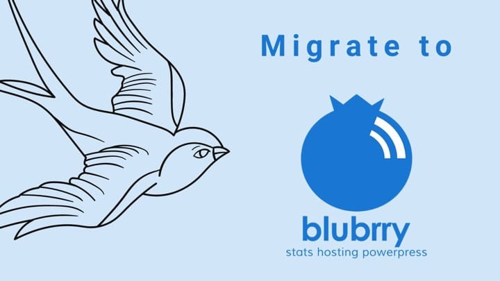 """Graphic of a bird on the left flying (""""migrating"""") toward the Blubrry Podcasting logo"""