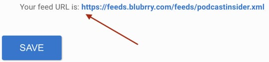 Screenshot of a red arrow pointing at a podcast RSS feed URL