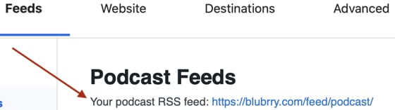 Screenshot of a red arrow pointing at a podcast RSS feed generated by the PowerPress plugin