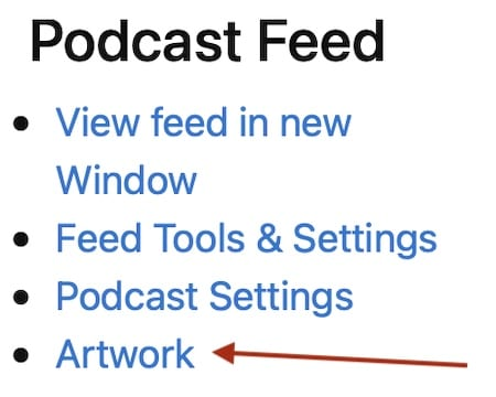 Screenshot of a red arrow pointing at the Artwork link in the Blubrry dashboard