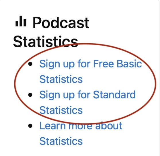 """Screenshot of a red circle around """"sign up for Blubrry stats"""" links inside the Blubrry dashboard"""